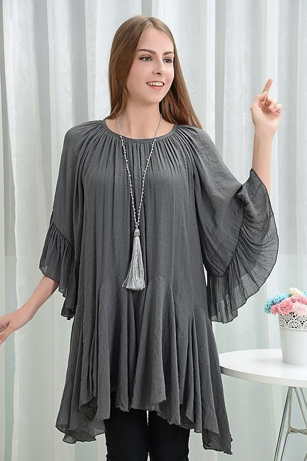 8cd88a3d95ddf Sassy Bling Womens Tops Bohemian Style Ruffle Tunic (Many Colors) -  42