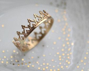 Goldene Krone Ring Ehering. Engagement-Band. Teatime von LUNATICART