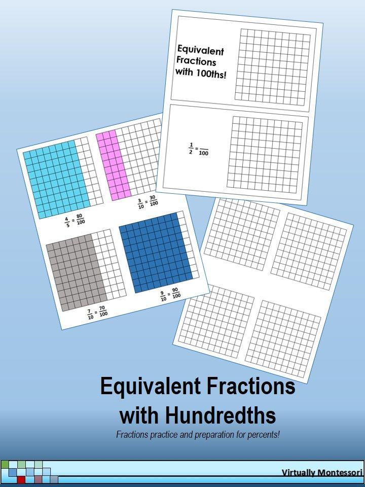 Equivalent Fractions with Hundredths: Booklet, Samples, and Blanks: These materials can be used after the students have a general understanding of equivalent fractions and are ready to transition into decimals and percents. $