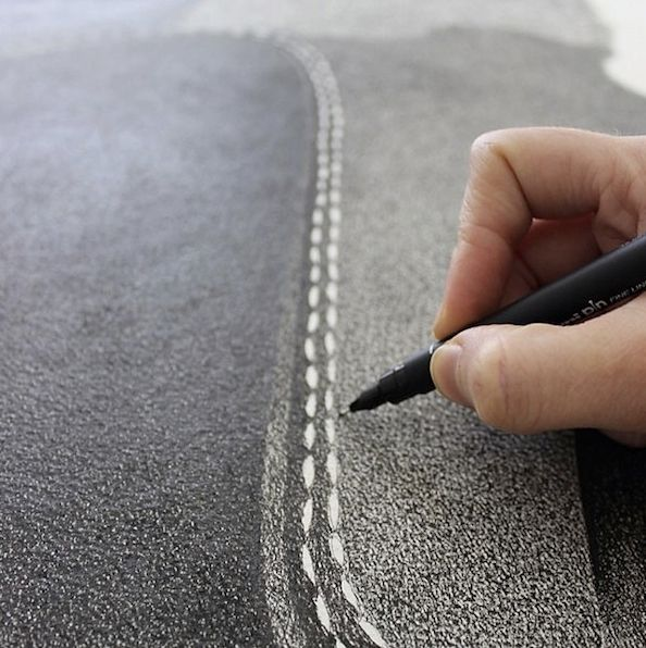 These oversize illustrations of everyday objects are made using just a fine-tip black pen. Australian artist CJ Hendry creates her beautiful drawings with a tedious dotting technique. By the end of the process the illustrations look like grainy black-and-white photographs made on a vintage film camera.