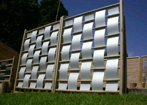 moderne außen designideen leinwand holz sichtschutz