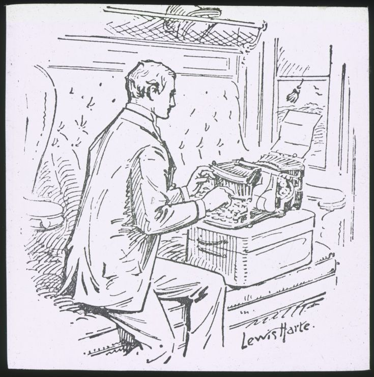 090000PD: Lantern slide of an illustration of a man using typewriter on a train, ca. 1895.  http://encore.slwa.wa.gov.au/iii/encore/record/C__Rb4882407__S090000pd__Orightresult__U__X3?lang=eng&suite=def