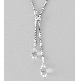 Swarovski® Silvertone/Rhodium Clear Crystal Gillian Y Necklace at www.carsons.com