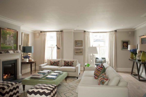 Room of the Day ~ neutral palette with patterned accents in this delightful English modern country sitting room - Sarah Vanrenen design 4.30.2014