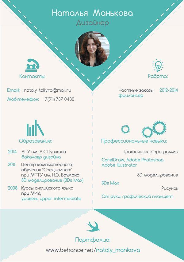 Резюме дизайнера / curriculum vitae / resume on Behance