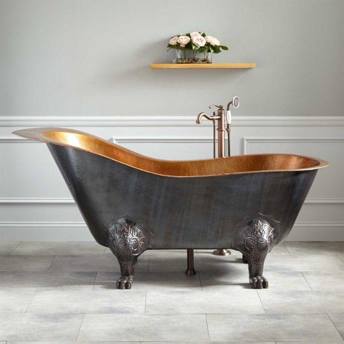 """72"""" McQuire Hammered Copper Slipper Clawfoot Tub with Bright Copper Interior"""