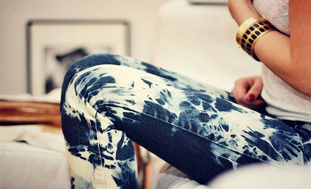 You can also tie-dye them with bleach for an awesome print. | 30 Hella Easy Ways To Seriously Transform Your Old Jeans