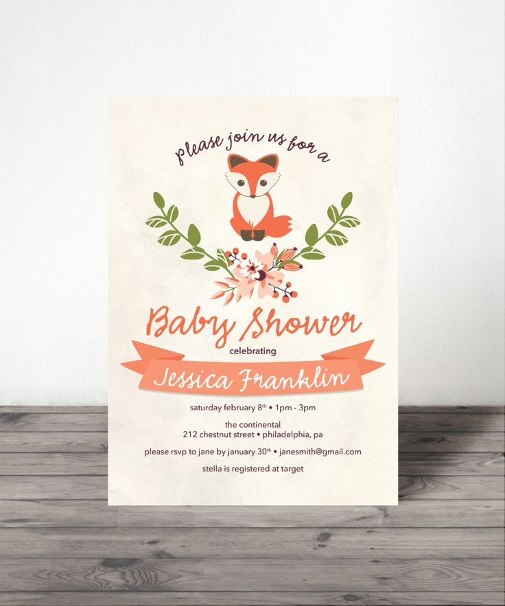 Baby Fox - Baby Shower Invite - Woodland Baby Shower - Gender Neutral Baby Shower Invite - Adorable Fox - Fox Baby Shower by CreativeUnionDesign on Etsy https://www.etsy.com/listing/174033294/baby-fox-baby-shower-invite-woodland