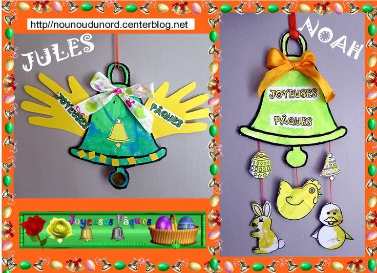 Les cloches de Pâques réalisées par Noah 21 mois cliquez  et par Jules 29 mois. cliquez sur le lien pour avoir les gabarits http://nounoudunord.centerblog.net/4649-les-cloches-de-paques-realisees-par-noah-et-par-jules-29