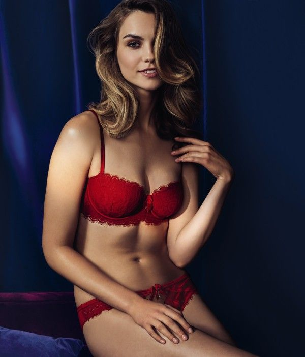 Indulge in this red lace balcony bra and brazilian from Reger Noir by Janet Reger.