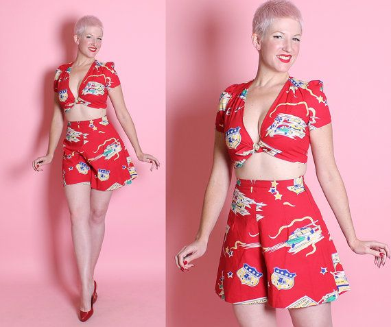 DARLING 1940's Style 2Piece Rich Red Cotton by butchwaxvintage
