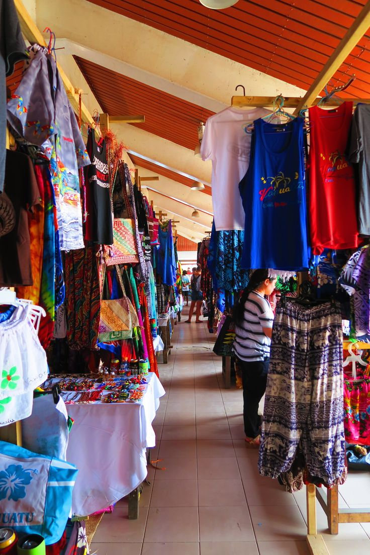 Shop for some island fashions in the Port Vila central market in Vanuatu!
