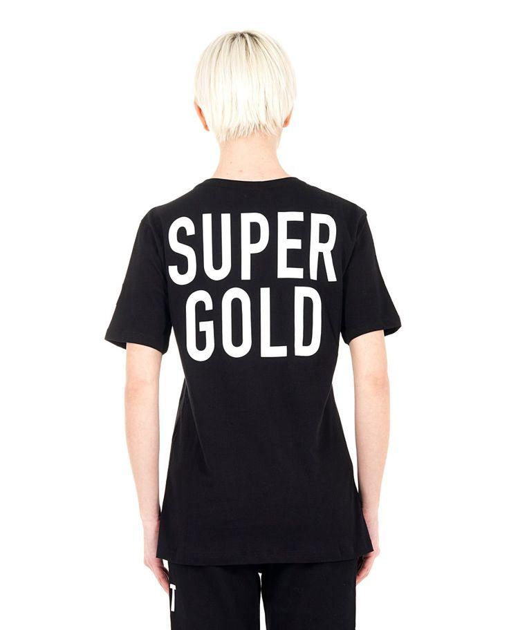 "SHOP ART White jersey T-shirt  ""super blonde party"" crew-neck short sleeves front print 100% CO"