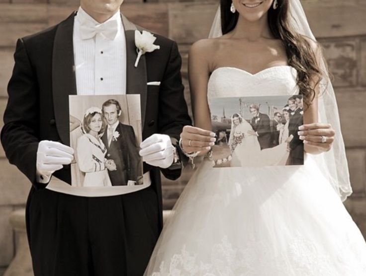 Perfect gift for the parents!!! Have the bride and groom both take pictures from each of their parents weddings and take a picture!