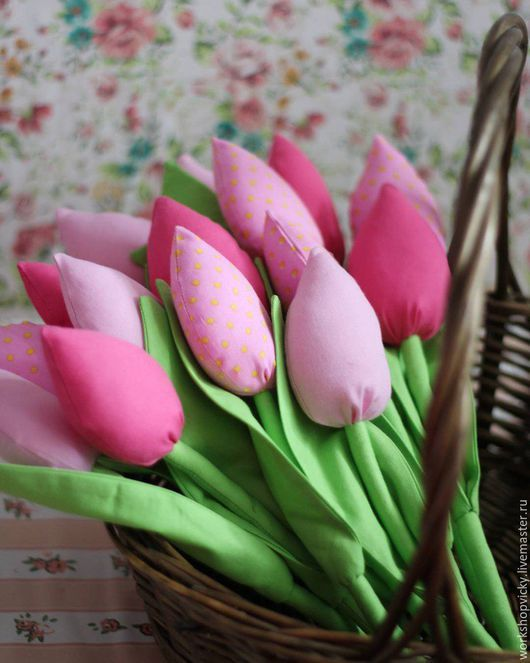 Подарки для влюбленных ручной работы. Ярмарка Мастеров - ручная работа. Купить Тильда тюльпаны. Розовые тюльпаны. Текстильные тюльпаны. Handmade.