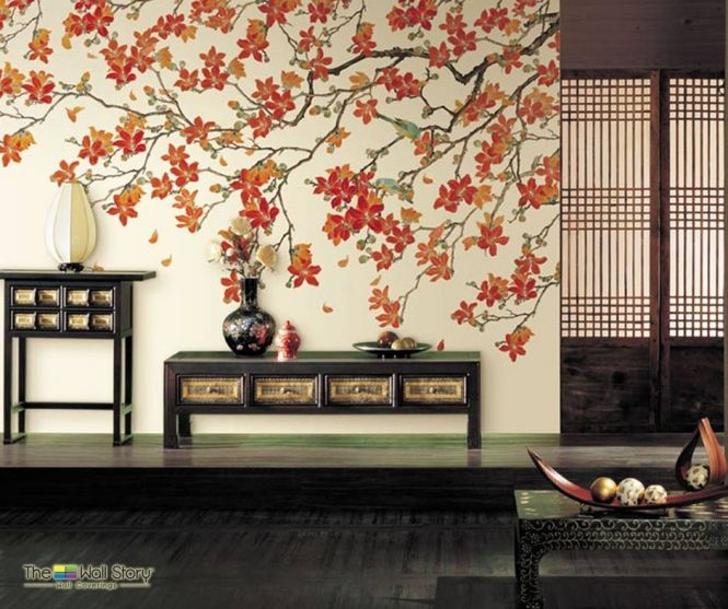 The Wall Story_Flower Wallpaper_Orange_Modern