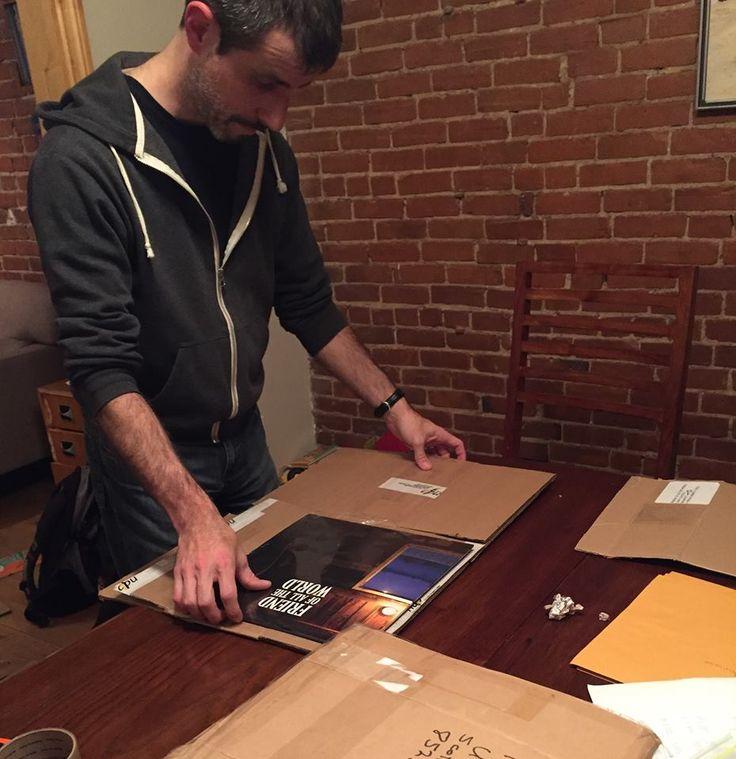 Preparing vinyls for shipping. Want one? https://friendofalltheworld.bandcamp.com/merch