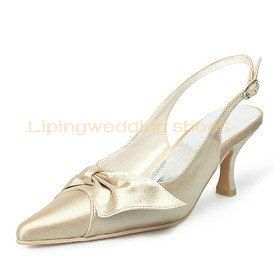Champagne Slingback Wedding Shoes Pointy Toe Low Heel