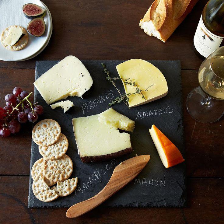 Brooklyn Slate Cheese Board, Knife, and Soapstone Pencil Set~
