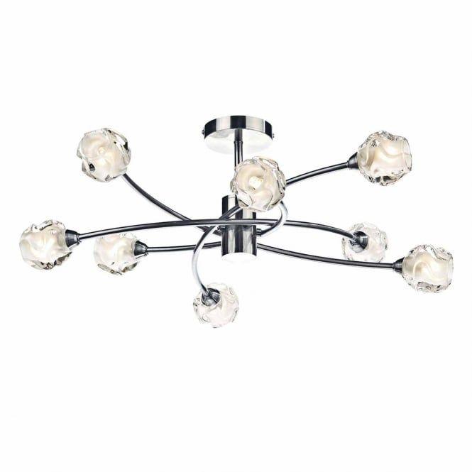 SEATTLE 8 light semi flush ceiling light in satin chrome