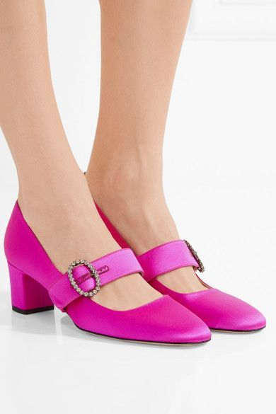 Heel measures approximately 50mm/ 2 inches Fuchsia satin Buckle-fastening strap Designer color: Candy Made in Italy