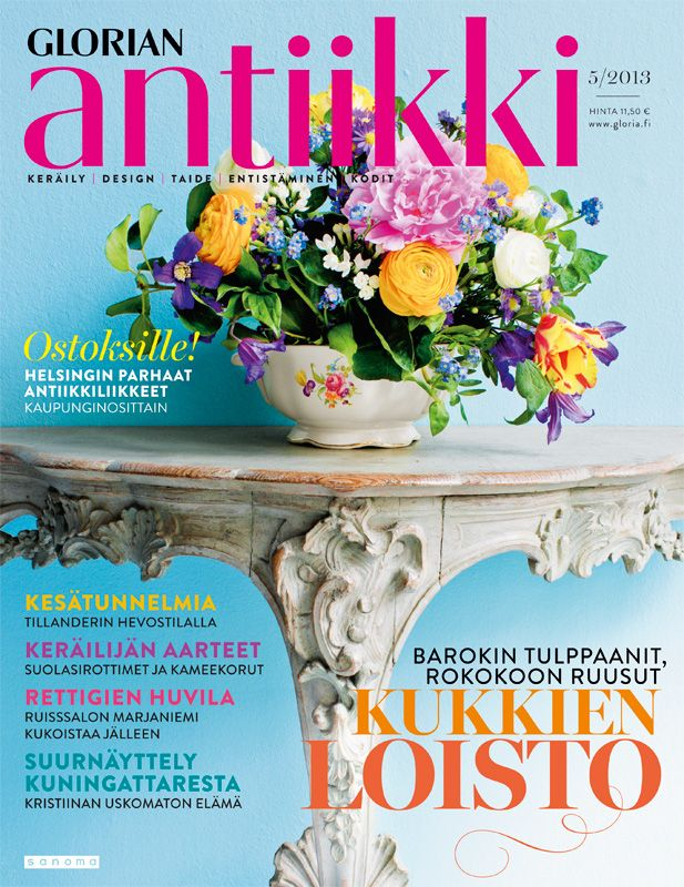Magazine cover 5/2013. Flower bouquet in an Arabia porcelain factory tureen with Sächsische Blumen ornament, and a rococo table. Photo Tuomas Kolehmainen.