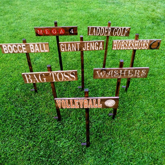 Lawn Games Signs Company Picnic Wedding Signs by OneCoopedChick, $30.00