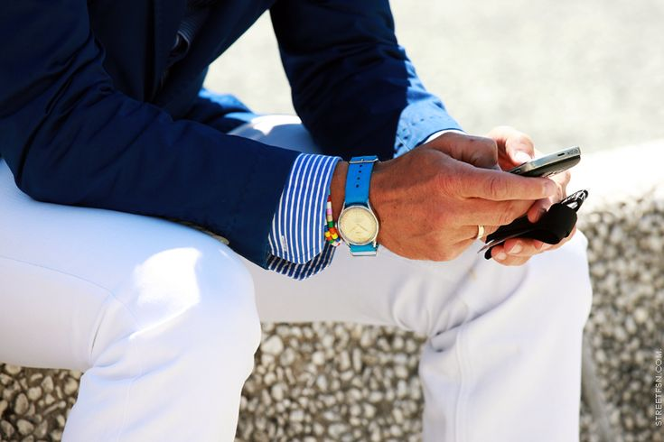 Blue on white.: Men Clothing, Fashion Style, Color, Summer Style, White Trousers, Men Style, White Pants, Men Fashion, Summer Chic