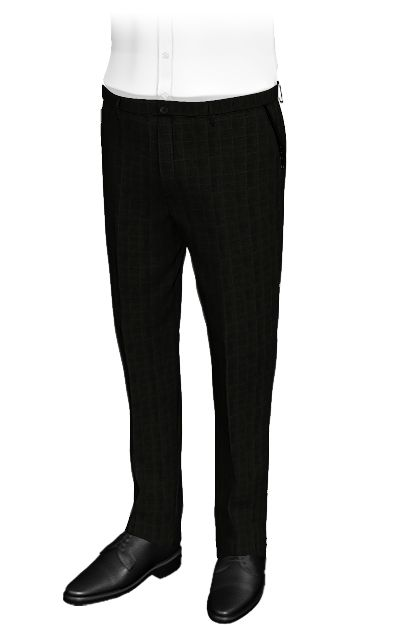 Ergos Black slim fit pants, wool and terylene. These custom pants use a black fabric, which is made of large squares composed of thin yellow lines. It reminds us of a carbon cluster assembled stones. They are pants for formal and informal occasions, whose design conveys great strength and beauty.