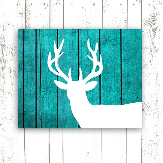Deer Art Print On Wood Background, Rustic Turquoise Home Decor, Printable  File, INSTANT