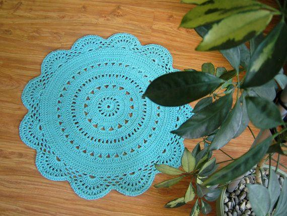 Tappeto all'uncinetto in corda di cotone azzurro di CrochetFolkArt su DaWanda.com