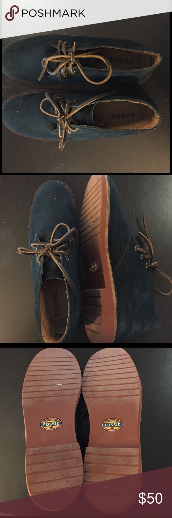 Fossil Men's Suede Chukka Boots Excellent condition! Natural rubber sole and genuine blue suede exterior. My husband never wears them so he decided to let them go. Fossil Shoes Chukka Boots