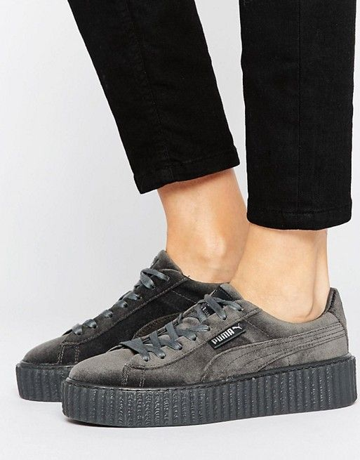 Puma X Fenty Velvet Creepers In Gray