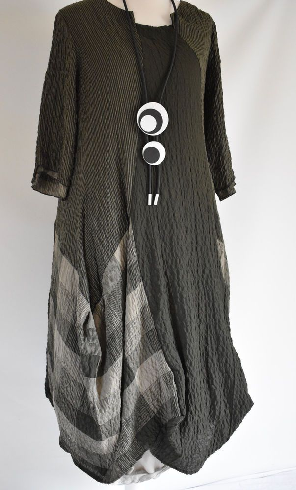 FAB GERMAN ZEDD.PLUS quirky/lagenlook MOSS CHECK  parachute dress /NECKLACE L/XL
