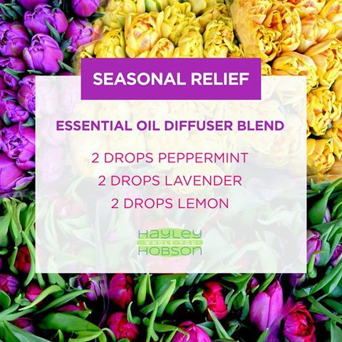 Spring is here and for a lot of people that means seasonal threats and the need for relief! This diffuser blend is excellent for relieving those seasonal symptoms and improving respiratory function! Peppermint promotes clear breathing with its minty aroma, Lavender eases feelings of tension and anxiety, and Lemon promotes a positive mood while cleansing the body and purifying the air. Plus, it smells amazing! www.hayleyhobson.com