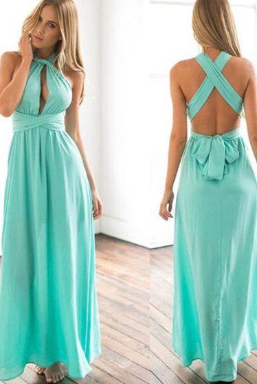 8ba2d705a Vestido Longo Multiformas de Amarrar para Festa Madrinha Casamento Azul  Turquesa | UFashionShop