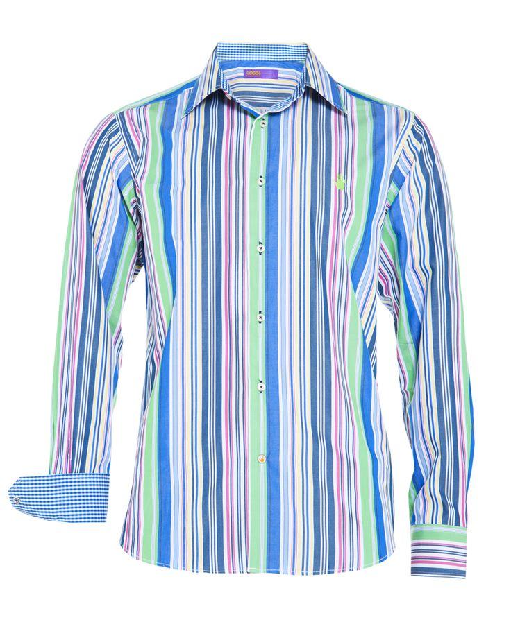 Men's blue & green multi stripe shirt, available at www.46664fashion.com