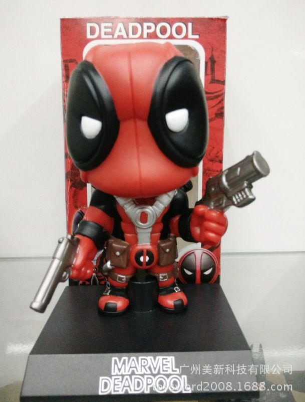 "Baby toys Q Version X-men Deadpool Figure PVC shake Doll Deadpool Action Figure boy Gift Children Collectible Toy 5"" 13cm"