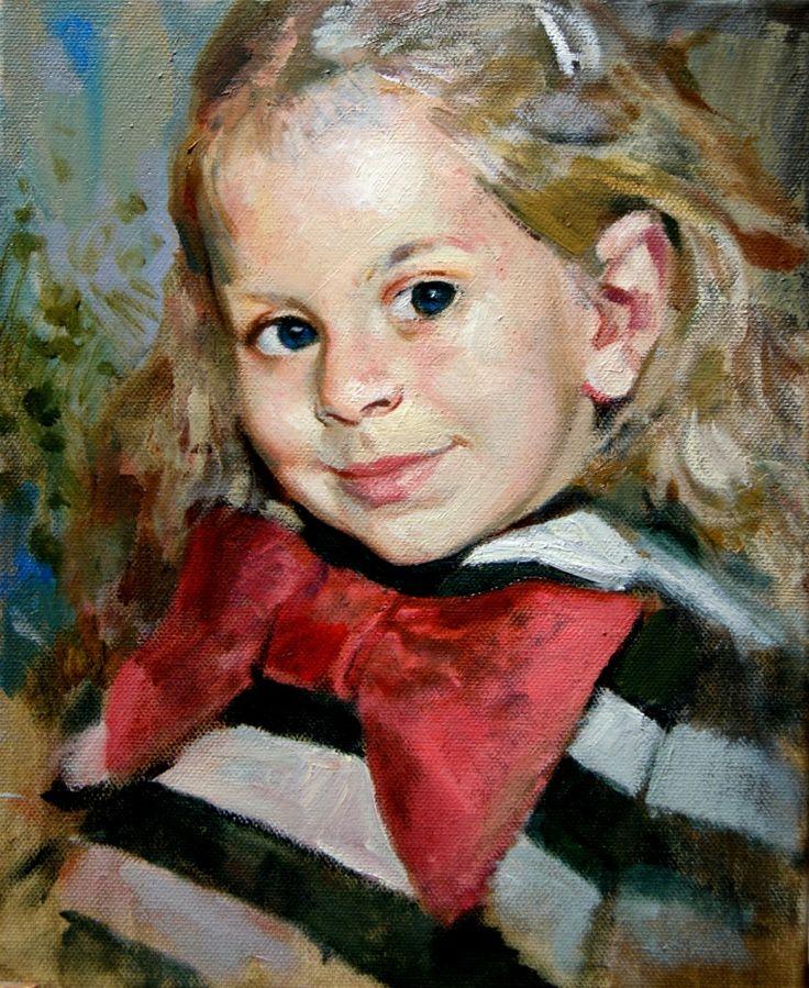 Портрет девочки с бантом. Этюд маслом. Холст/масло. Портрет по фото 984. © Алексей Точин.