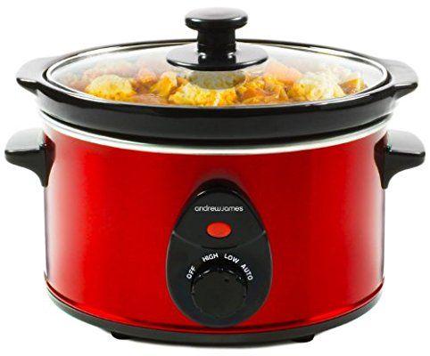 Andrew James - 1,5L Premium Schongarer In Rot - Mit Sicherheitsglas und Entnehmbarer Innerer Keramikschüssel - 3 Temperaturstufen