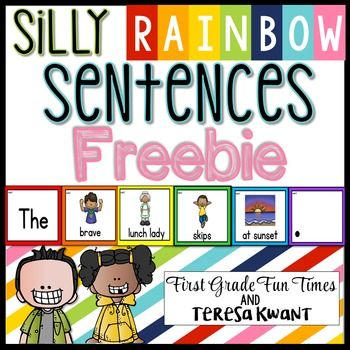 Writing Prompts - Sentences, Writing - Silly Sentences, Writing - centersThis is a freebie set of the silly sentences.Click here to see the full set of Silly Sentences.This is one of the most popular activities in our monthly centers bundles.  We've had numerous requests to list these on their own, and wanted to offer a freebie set if you are not quite sure they are for you - I promise, your students will love them!Students will put the red, orange, yellow, green, blue and purple cards in…