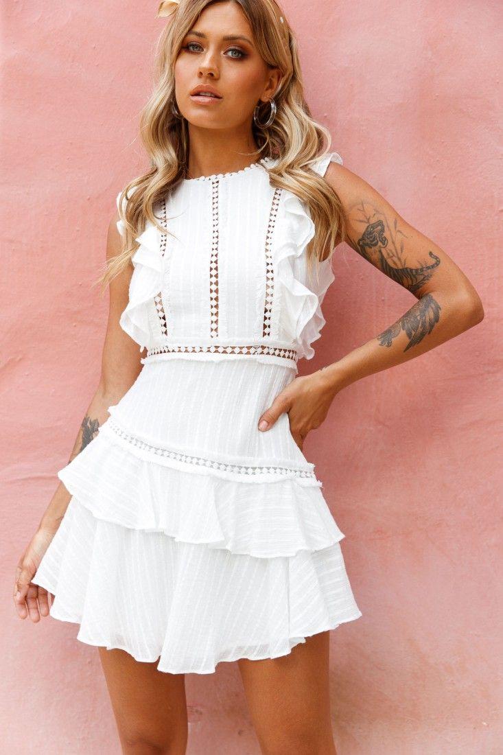 Melrose Sleeveless Crochet Ruffle Detail Dress White In 2021 Little White Dresses White Dresses For Women Layered Ruffle Dress [ 1100 x 733 Pixel ]