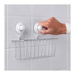 IKEA - IMMELN, Portaoggetti per doccia, Sono incluse le ventose, che aderiscono alle superfici lisce come il vetro, gli specchi e le piastrelle.È in acciaio zincato, un materiale resistente, che non si arrugginisce.