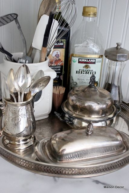Silver.Tray with silver in the kitchen!!