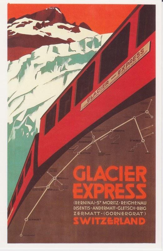 Nikola Ehrenreich, Plakat Glacier-Express, 1925. Plakatsammlung Museum fur Gestaltung Zurich.