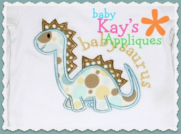 Cute Dinosaur Applique -  A cute little dinosaur! This applique does not include the words in the photo.