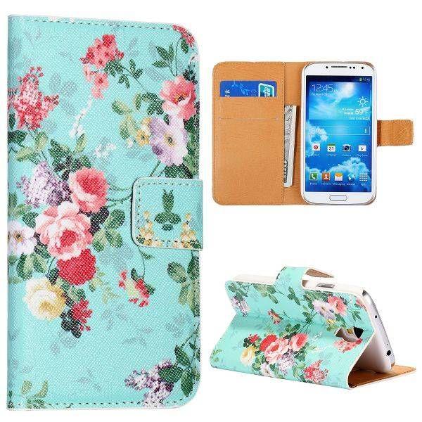 Bloemen blauw bookcase hoes Samsung Galaxy S4