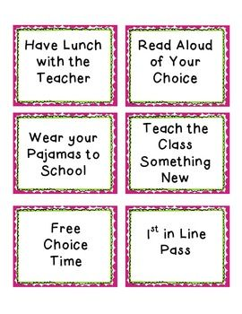 Classroom rewards (minus the wear your pjs to school :p )