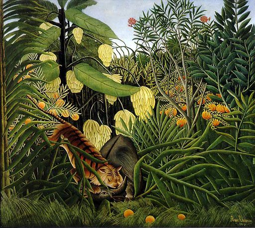 Henri Rousseau (1844-1910) ~ self taught artist, whose style is distinctively exotic and primitive