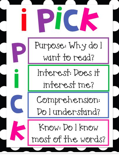I Pick Poster: Good Fit Books, Ipick Posters, Books Choice, Reading Posters, Books Selection, Reading Corner, Classroom Libraries, Bright Colors, Books Reading